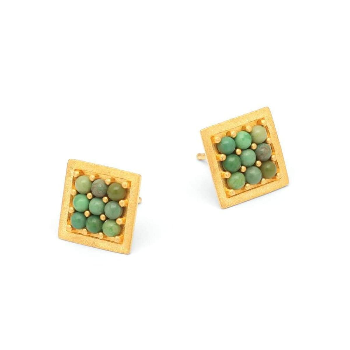 Pacu Green Turquoise Pin Earrings - 19930356