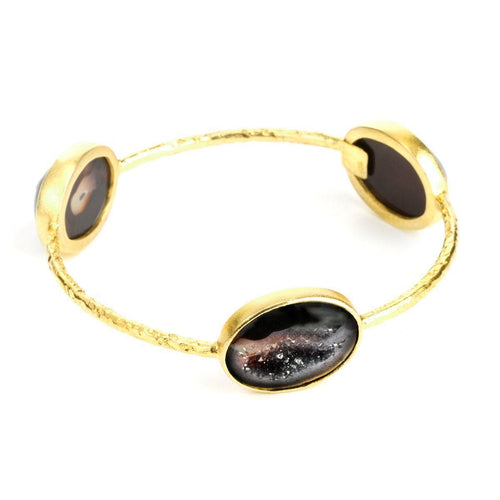 Pallas 3-Stone 22k Gold Plated Druzy Bangle - G2502B-Nina Nguyen-Renee Taylor Gallery