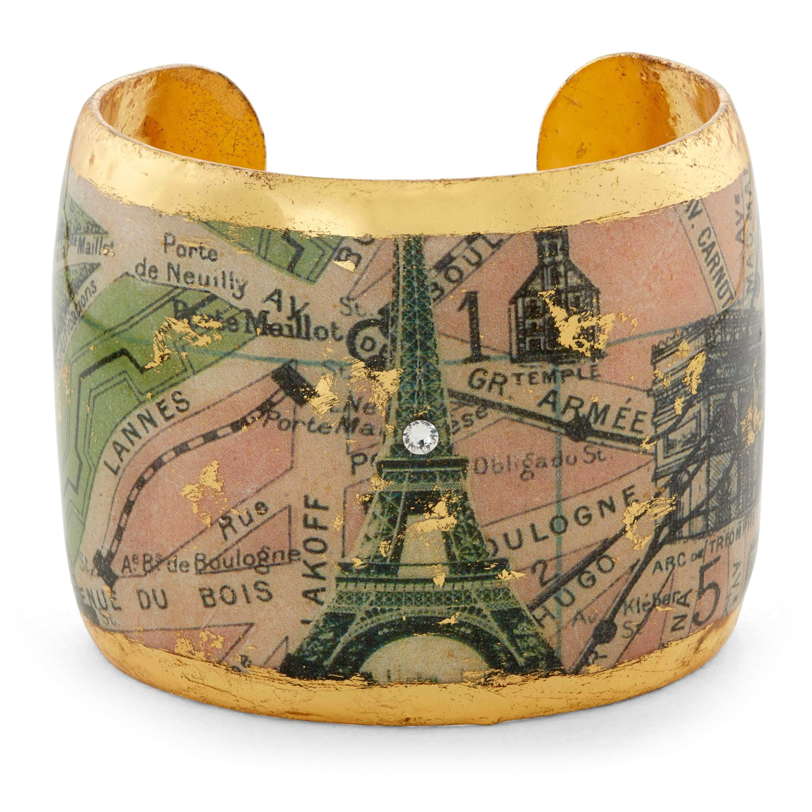 "Paris Eiffel Tower 2"" Gold Cuff - OT104-Evocateur-Renee Taylor Gallery"