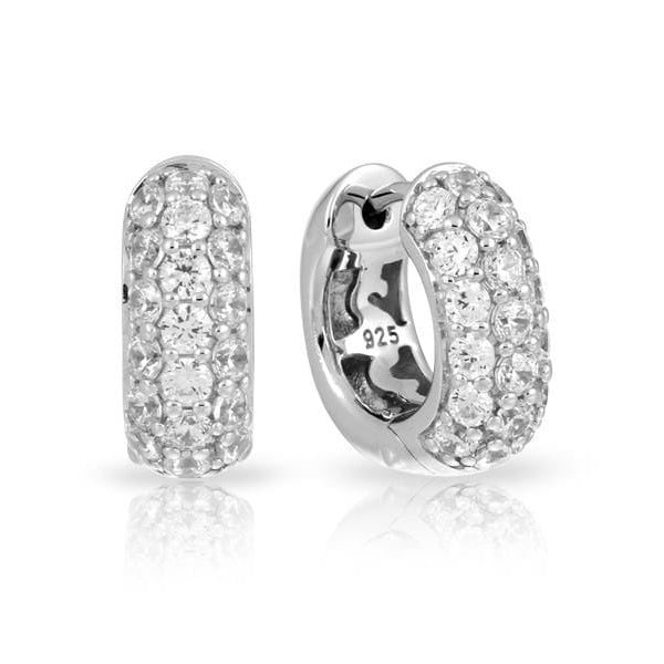 Pave Square White Earrings-Belle Etoile-Renee Taylor Gallery