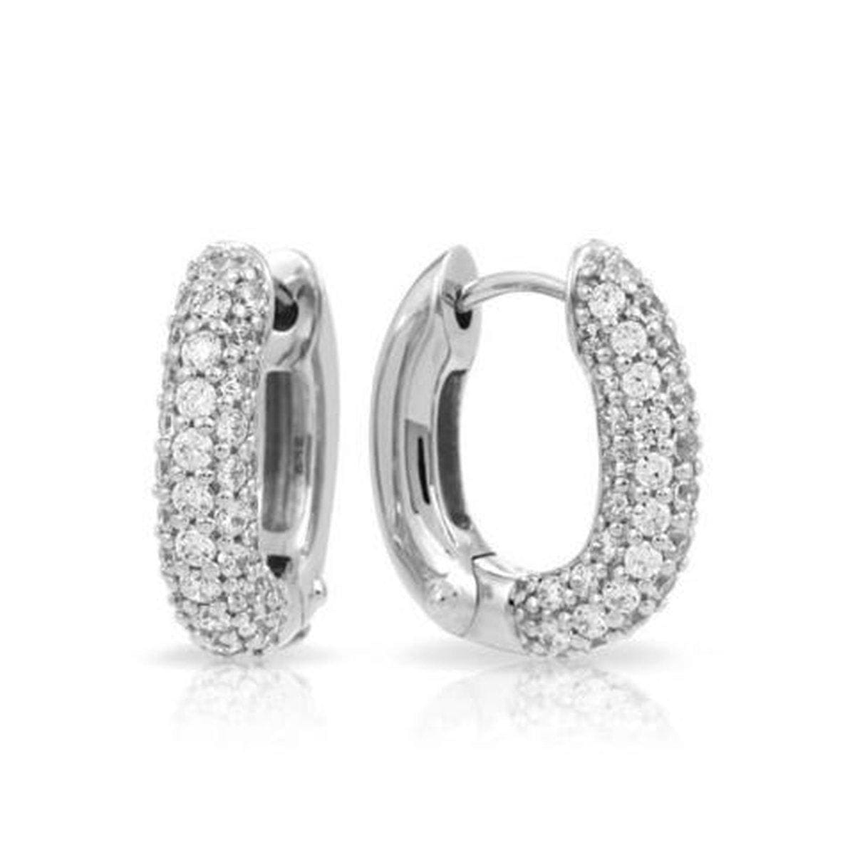 Pave Thin White Earrings-Belle Etoile-Renee Taylor Gallery