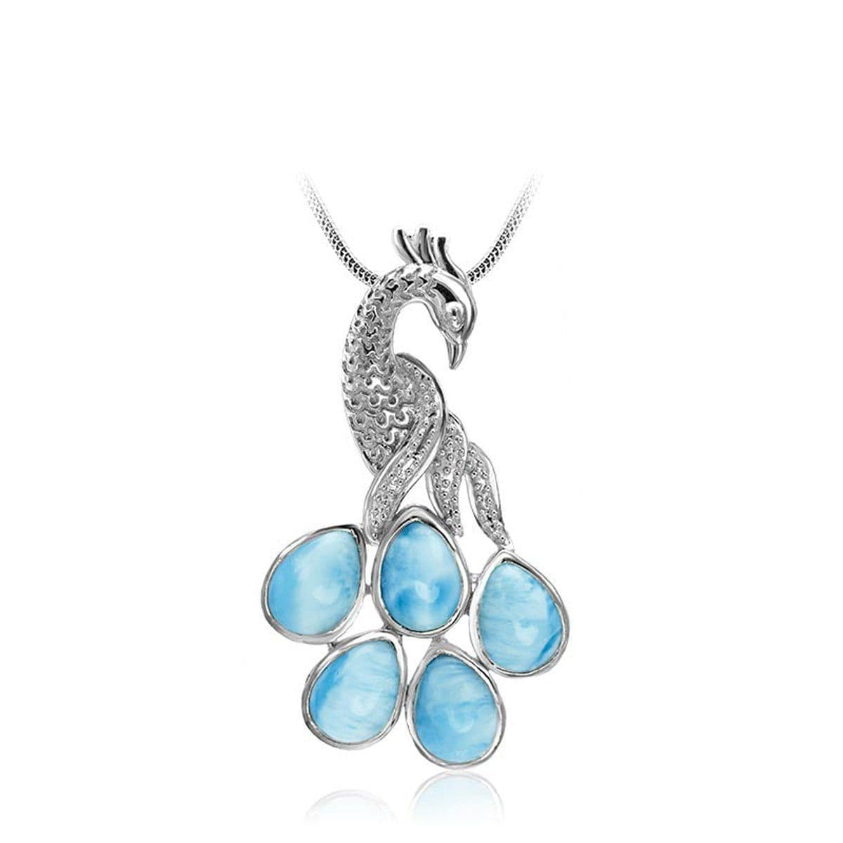 Peacock Necklace - Npeac00-00-Marahlago Larimar-Renee Taylor Gallery