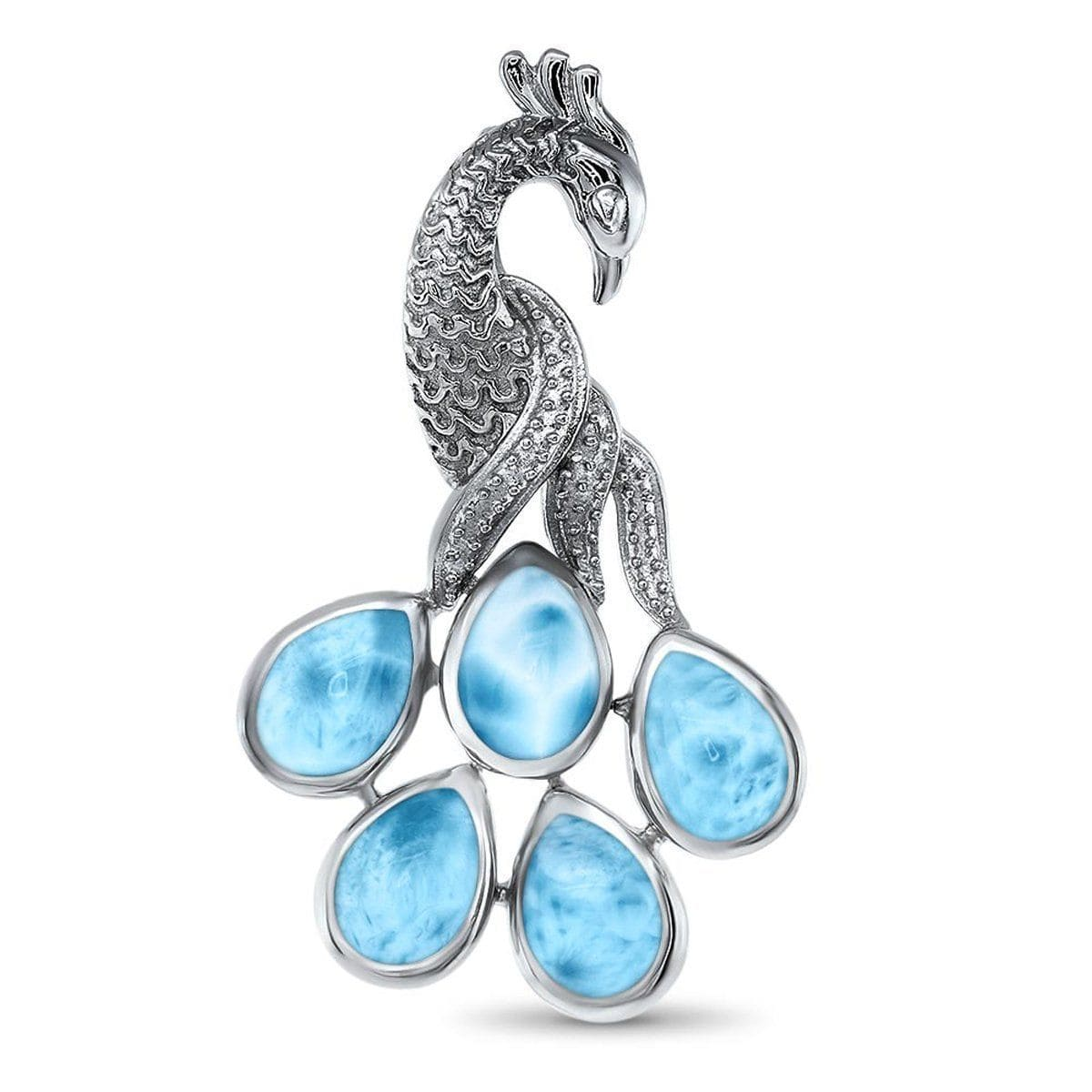 Wildlife Peacock Necklace - Npeac00-00-Marahlago Larimar-Renee Taylor Gallery