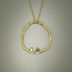 Pebble Diamond & Gold Pendant - 18P6-1-2G-YG-Sarah Graham-Renee Taylor Gallery