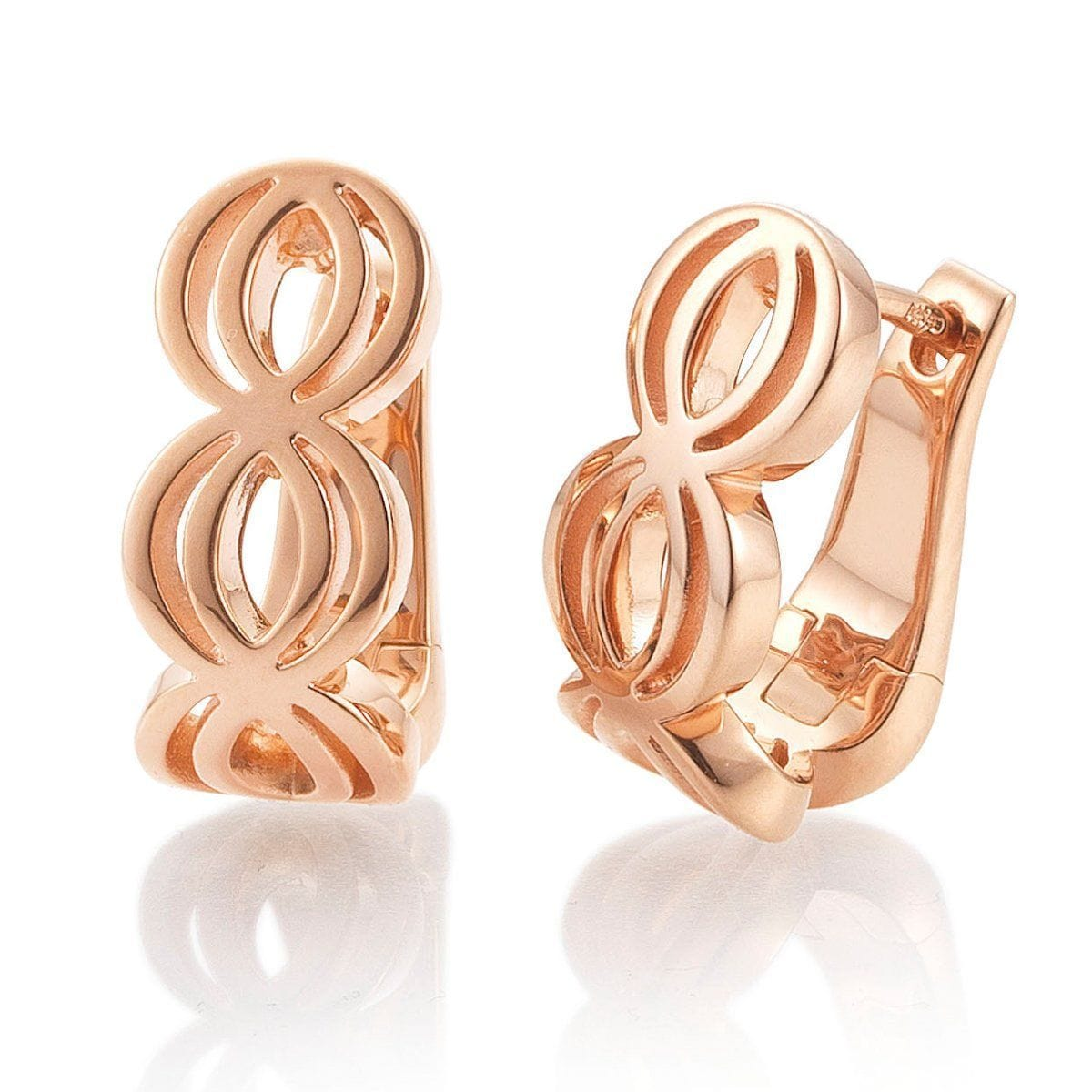Rose Gold Plated Sterling Silver Earrings - 06/60793-Breuning-Renee Taylor Gallery