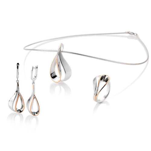 Rose Gold Plated Sterling Silver White Sapphire Earrings - 06/60798-Breuning-Renee Taylor Gallery