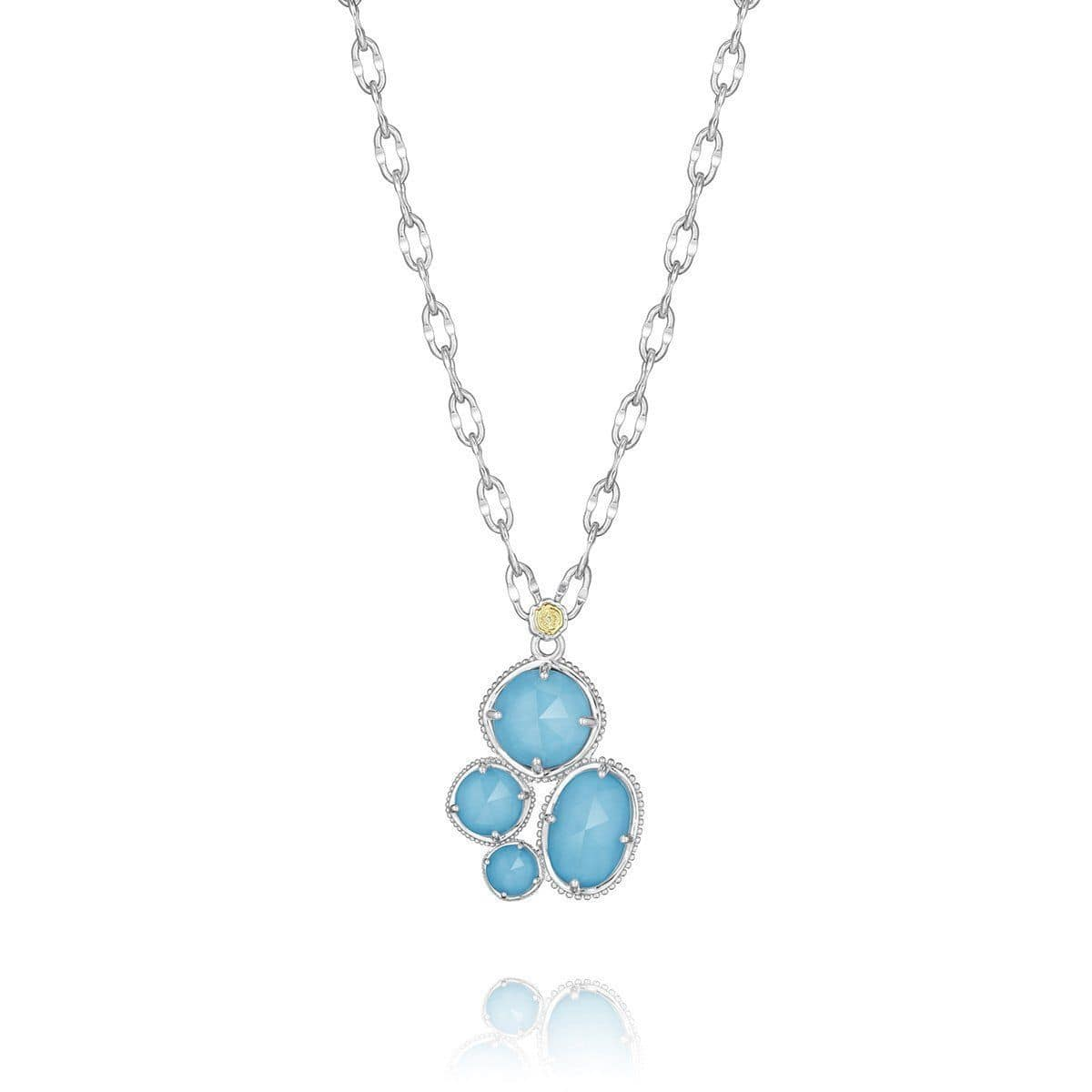 Quartz Over Neolite Turquoise Circle Necklace - SN14405