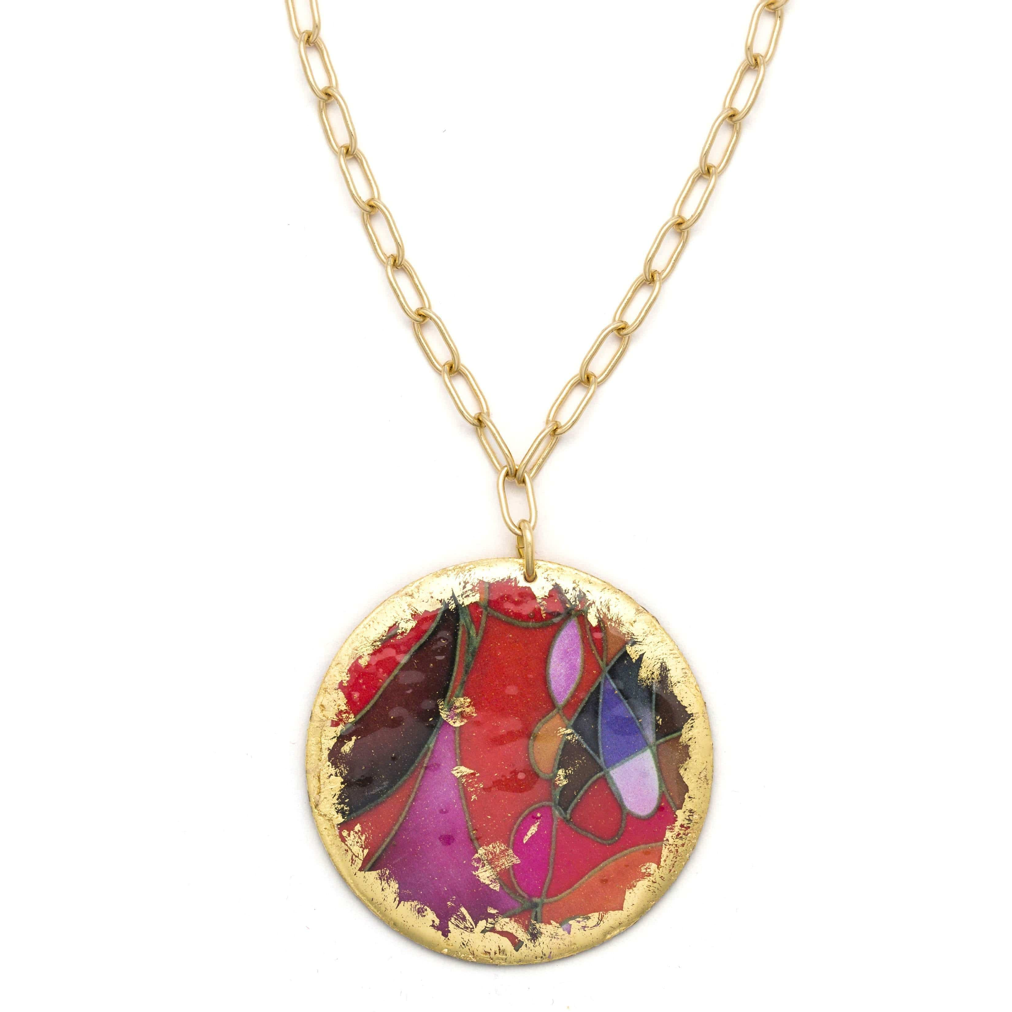 "Red Canyons 17"" Gold Pendant - MG201-Evocateur-Renee Taylor Gallery"