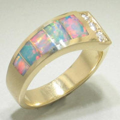 Red Opal & Diamond Ring - 26031-Christopher Corbett-Renee Taylor Gallery
