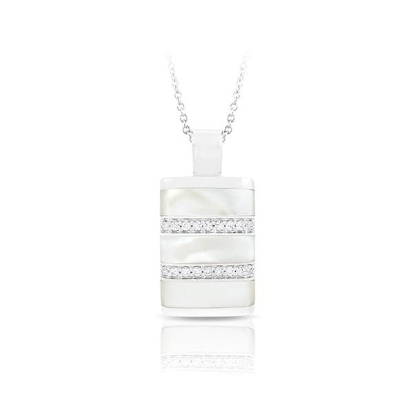Regal Stripe White Mother-of-Pearl Pendant-Belle Etoile-Renee Taylor Gallery