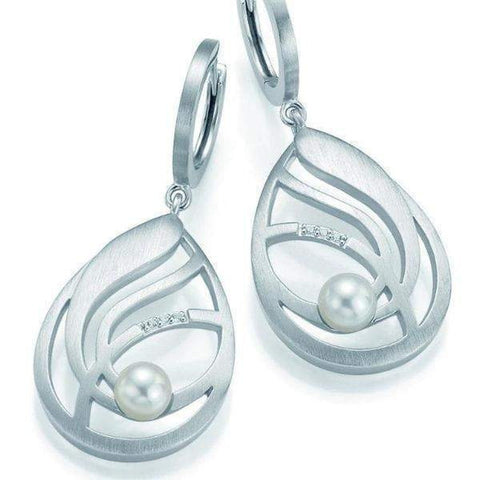 Sterling Silver White Sapphire Pearl Earrings - 06/60613 - Breuning