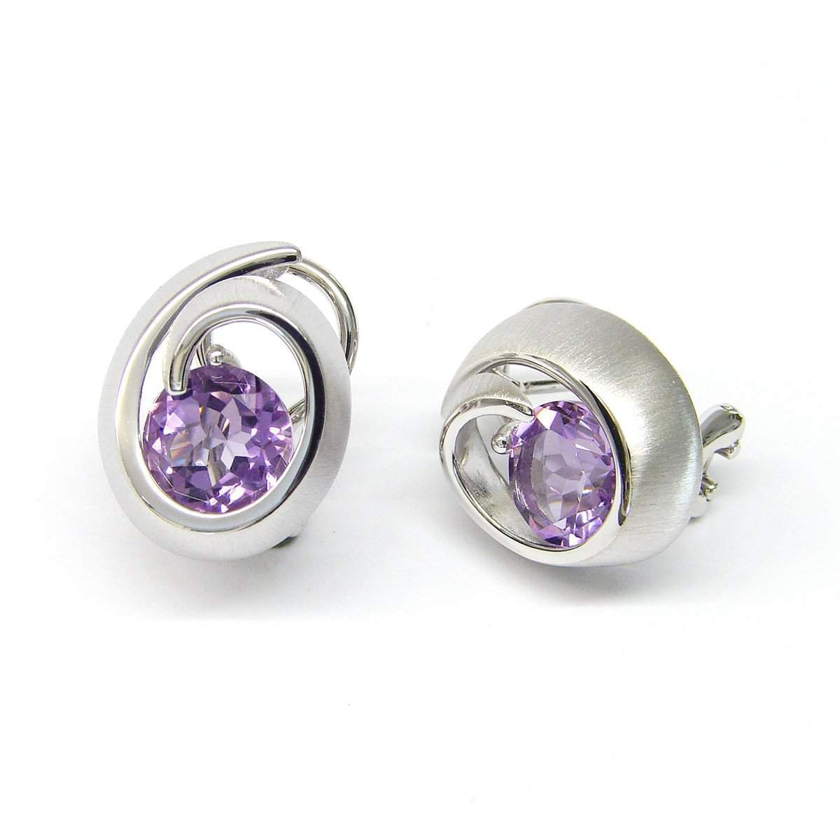 Sterling Silver Amethyst Earrings - 02/84835-AM-Breuning-Renee Taylor Gallery