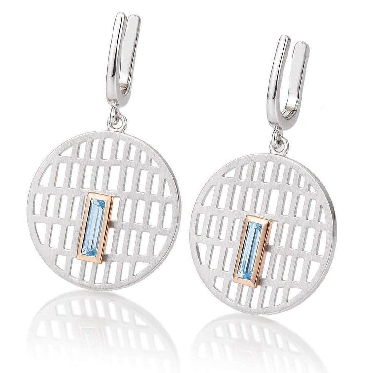 Rhodium Plated Sterling Silver Blue Topaz Earrings - 06/60722-Breuning-Renee Taylor Gallery