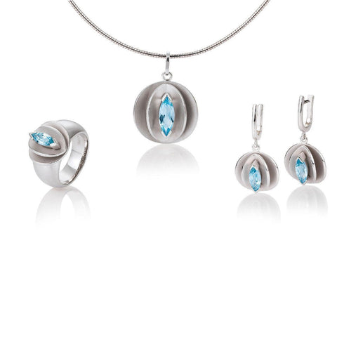 Sterling Silver Blue Topaz Earrings - 06/60723-Breuning-Renee Taylor Gallery