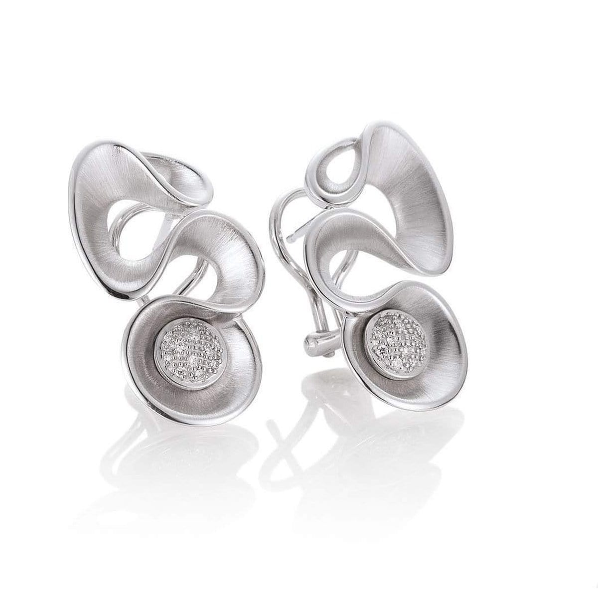Rhodium Plated Sterling Silver Diamond Earrings - 01/05568-Breuning-Renee Taylor Gallery