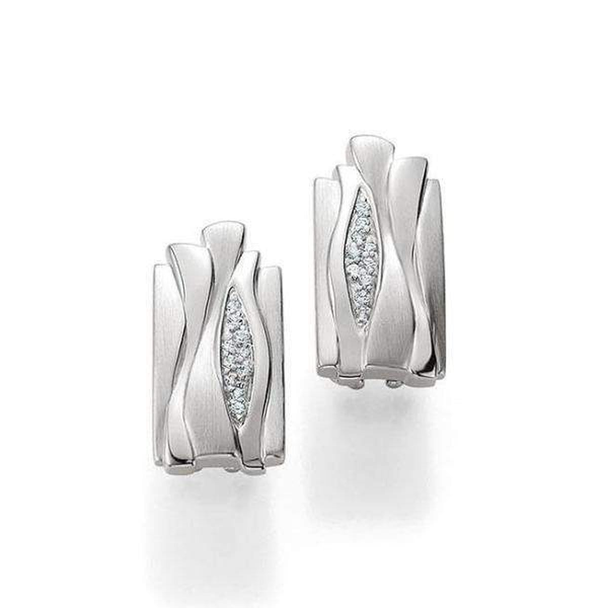 Rhodium Plated Sterling Silver White Sapphire Earrings - 02/03668-Breuning-Renee Taylor Gallery
