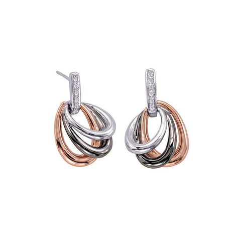 Rose Gold Plated Sterling Silver White Sapphire Earrings - 12/85727-Breuning-Renee Taylor Gallery