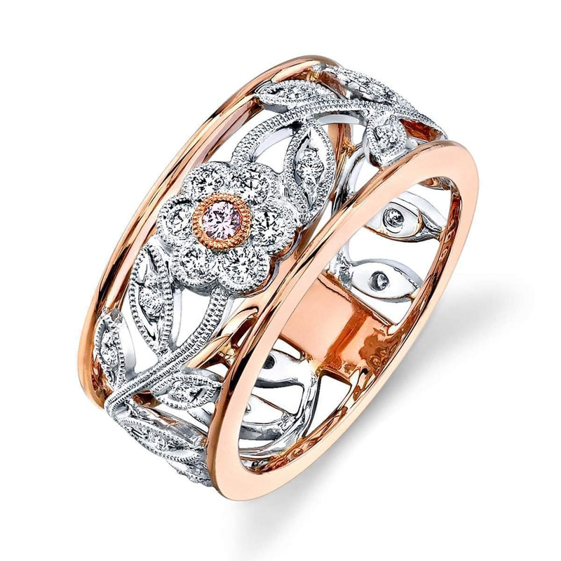 Right-Hand White & Rose Gold Diamond Ring- MR1000-RW-Simon G.-Renee Taylor Gallery
