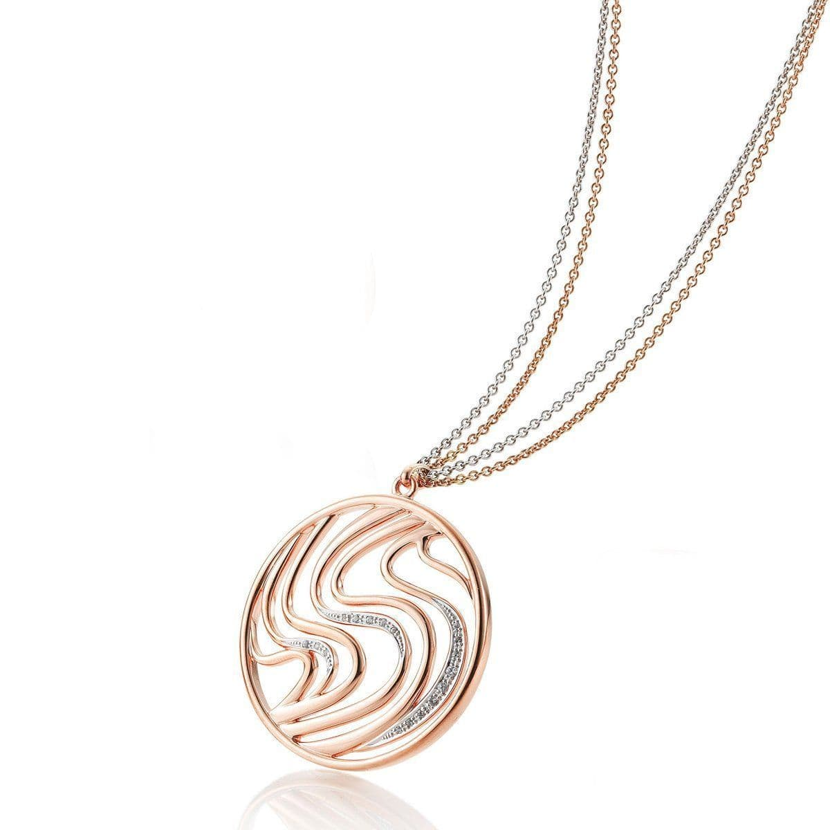 Rose Gold Plated Sterling Silver Sapphire Pendant - 32/03262-Breuning-Renee Taylor Gallery