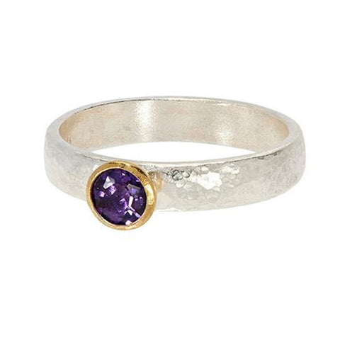 Round Amethyst Skittle Ring - SR-390-AM5-RD - GURHAN