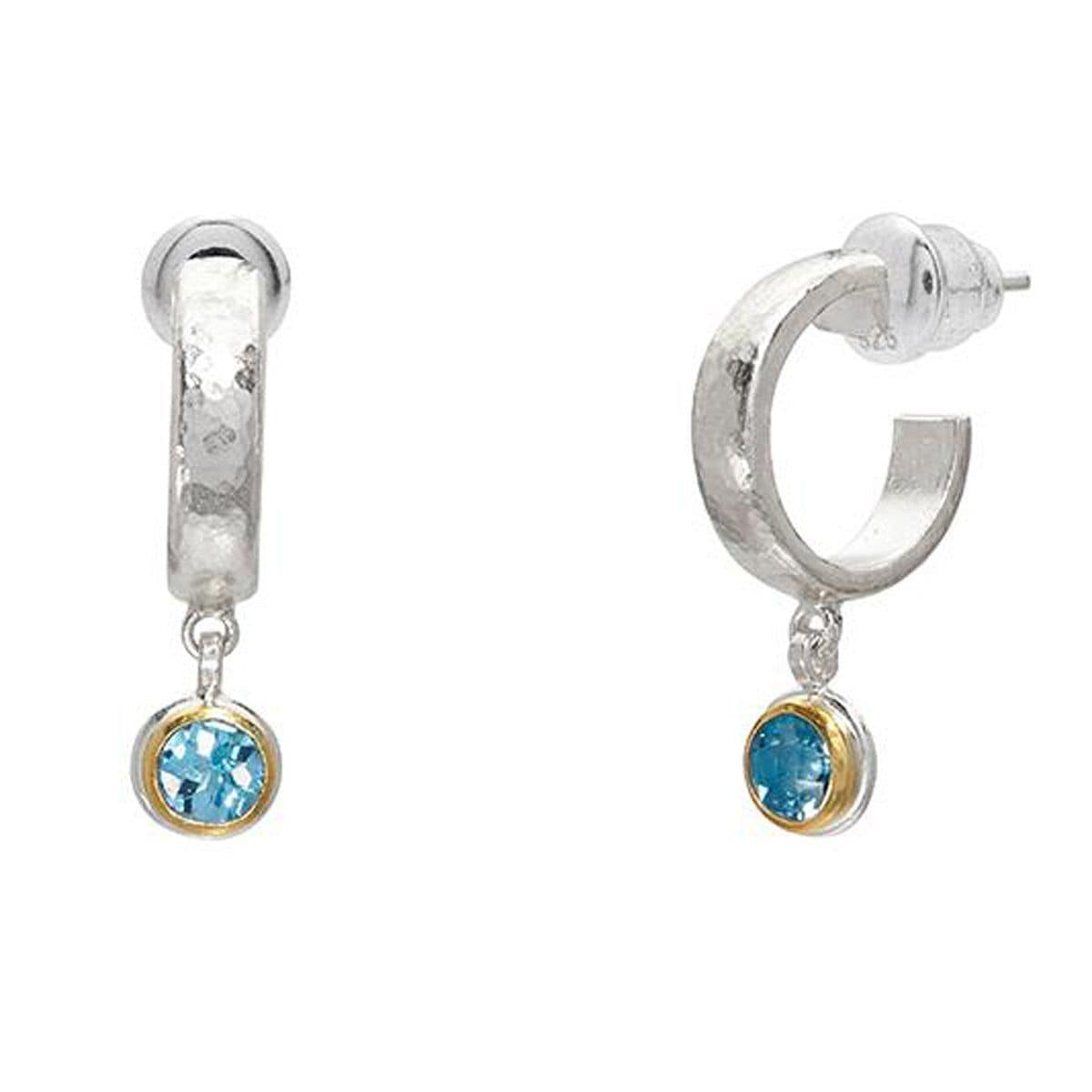 Round Blue Topaz Skittle Hoop Earrings - SE-390-BT5-RD-GURHAN-Renee Taylor Gallery