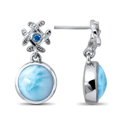 Sakura Earrings - Esaku00-00-Marahlago Larimar-Renee Taylor Gallery