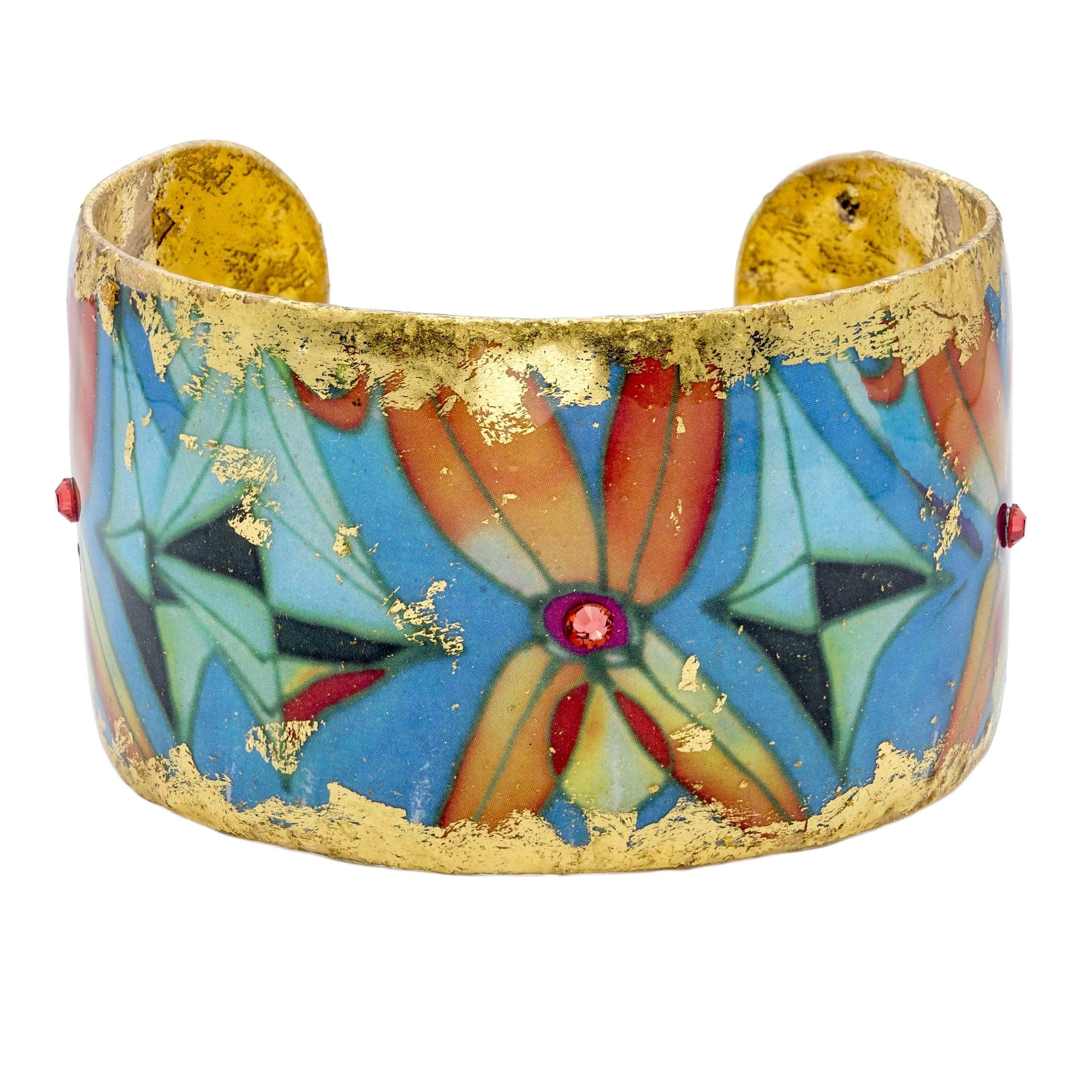 "Sea Floral 1.5"" Gold Cuff - MG104-Evocateur-Renee Taylor Gallery"