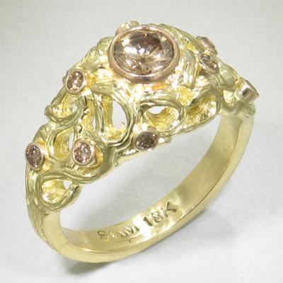 Shadow Dome Diamond & Gold Ring - 40R7-2-3G-YG-Sarah Graham-Renee Taylor Gallery