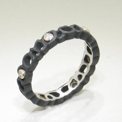 Shadow Diamond & Cobalt Chromium Steel Ring - 40R1-3-1S-ST