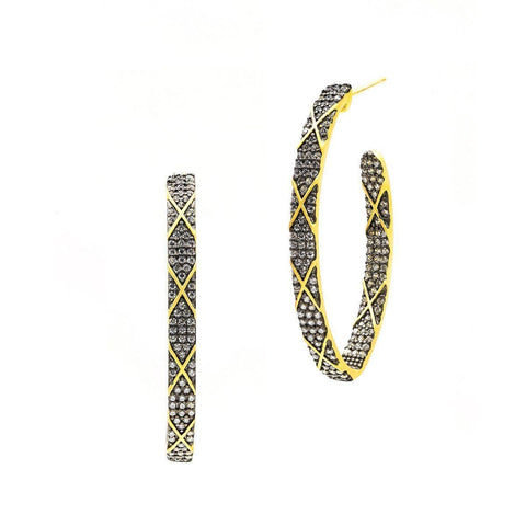 Signature Pointed Oval Pave Stripe Hoop Earrings - CDYKZE19-Freida Rothman-Renee Taylor Gallery