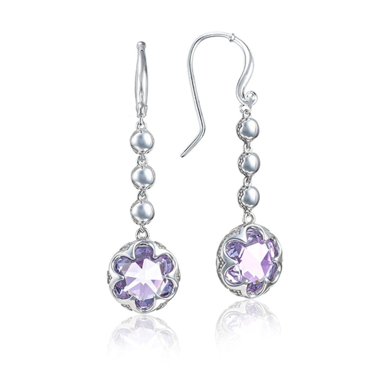 Silver 10MM Amethyst Dangle French Wire Earrings - SE21301-Tacori-Renee Taylor Gallery