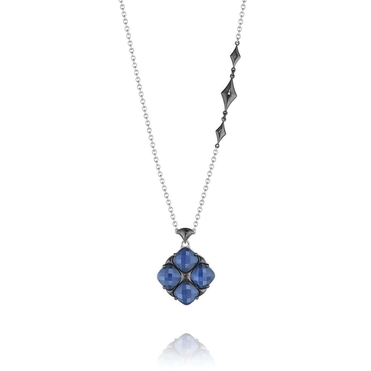 Silver 10MM Blue Quartz Over Hematite Necklace - SN16335-Tacori-Renee Taylor Gallery