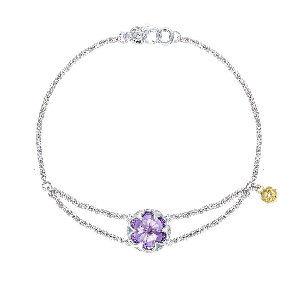 "Silver 10mm Round Amethyst 1/2"" Bracelet Double Chain Anchor - SB19901-Tacori-Renee Taylor Gallery"