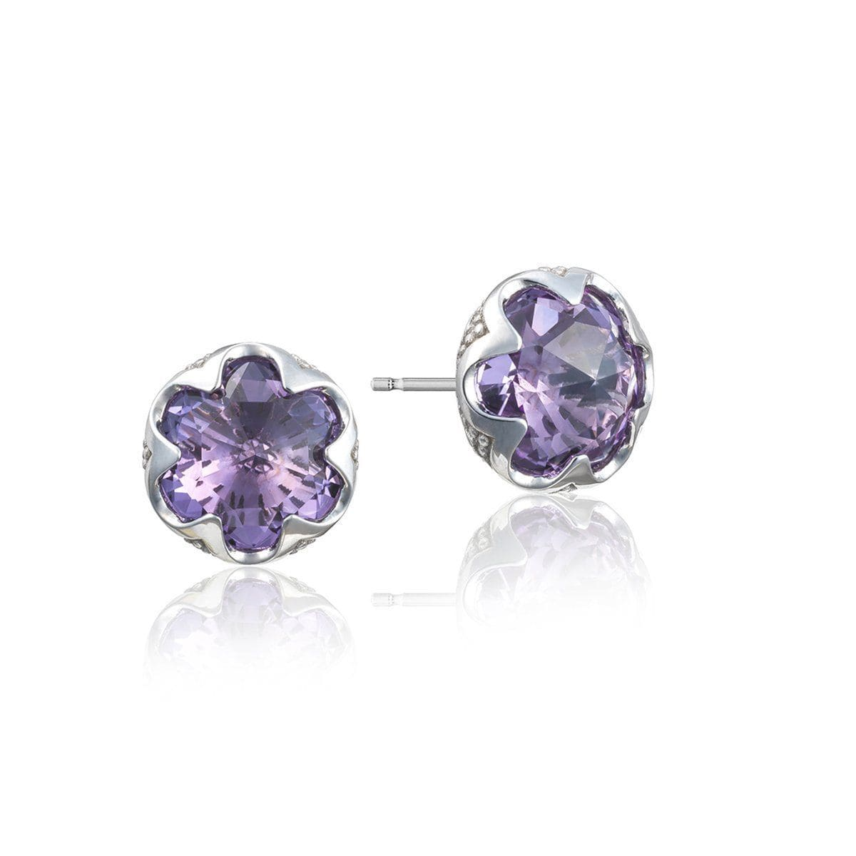 Silver 10MM Round Amethyst Stud Earrings - SE20801-Tacori-Renee Taylor Gallery