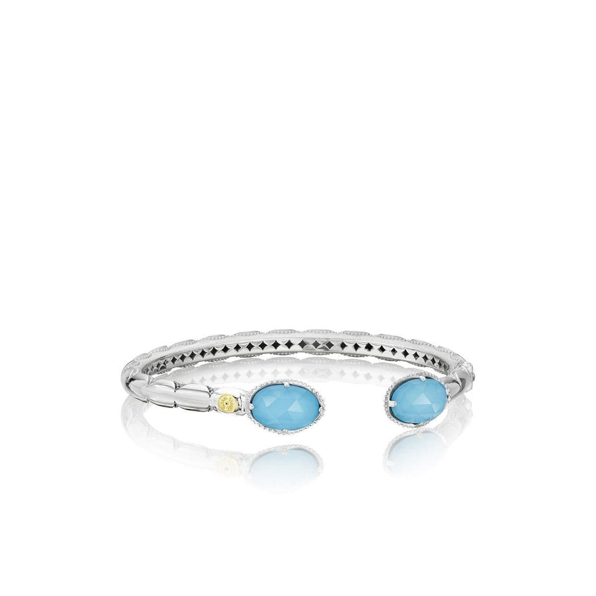 Silver 12x8 Oval Turquoise Bangle - SB13305-Tacori-Renee Taylor Gallery