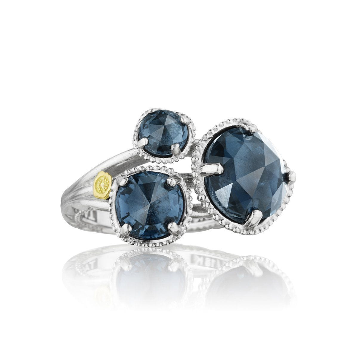 Silver 3 Stone London Blue Topaz Ring - SR13733
