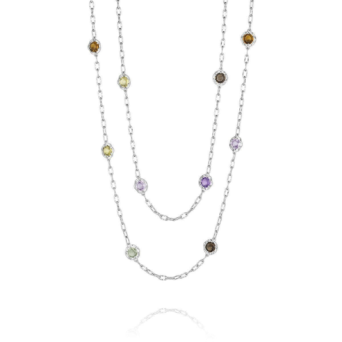 "Silver 38"" Colored Medley Necklace - SN108"