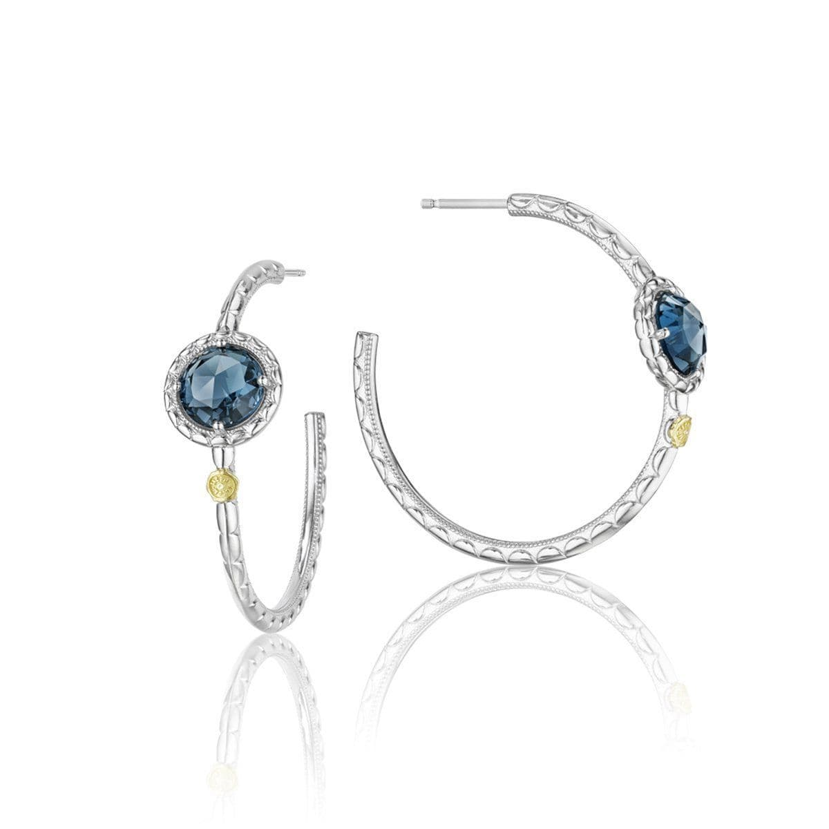 Silver London Blue Topaz Hoop Earrings - SE15733