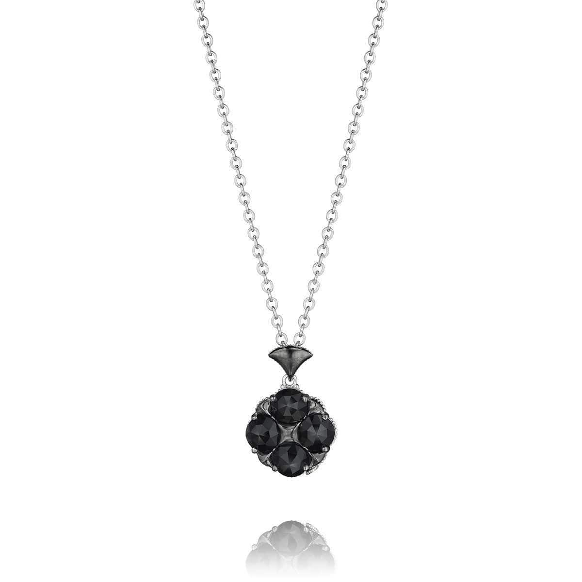 Silver Black Onyx Chain Necklace - SN16019