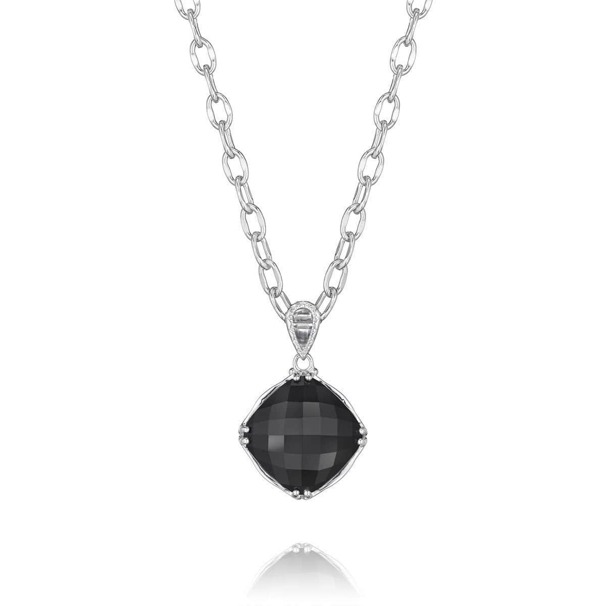 Silver Black Onyx Classic Rock Oval Pendant- SN12819-Tacori-Renee Taylor Gallery