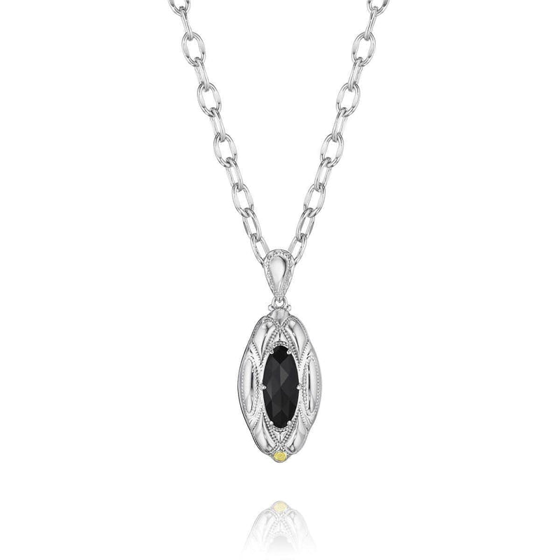 Silver Black Onyx Classic Rock Oval Pendant- SN12919-Tacori-Renee Taylor Gallery