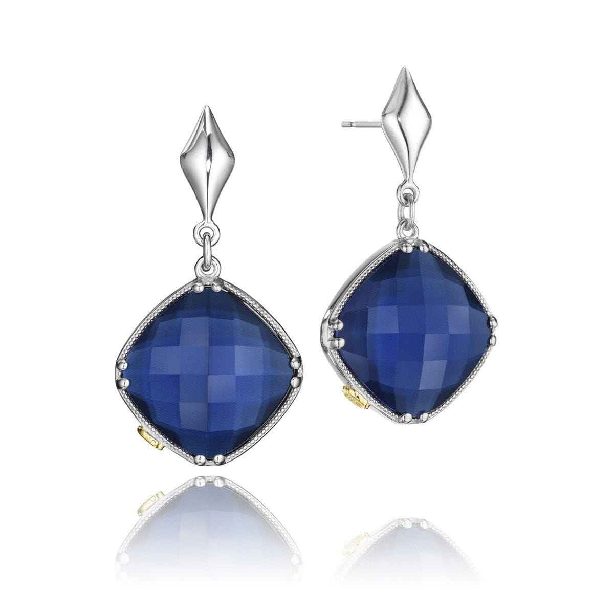 Silver Blue Quartz Over Hematite Earrings - SE16735-Tacori-Renee Taylor Gallery