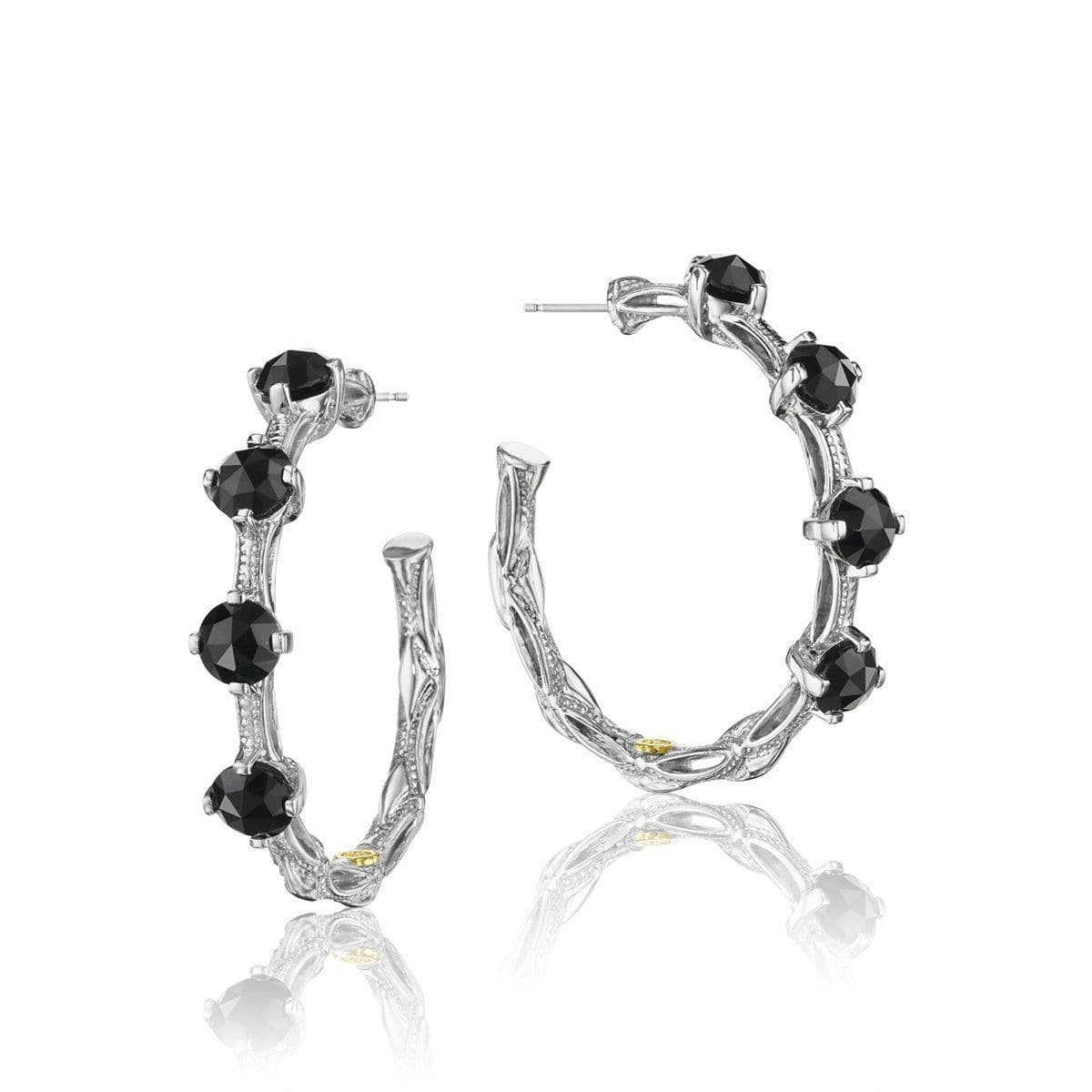 Silver Classic Rock Black Onyx Hoop Earrings - SE13819-Tacori-Renee Taylor Gallery