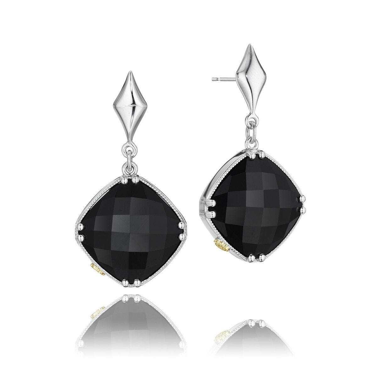 Silver Clear Quartz Black Onyx Earrings - SE16719