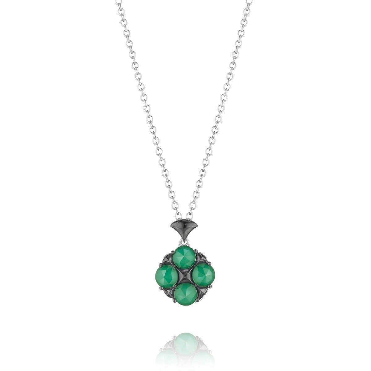 Silver Clear Quartz Over Green Onyx Chain Necklace - SN16027-Tacori-Renee Taylor Gallery