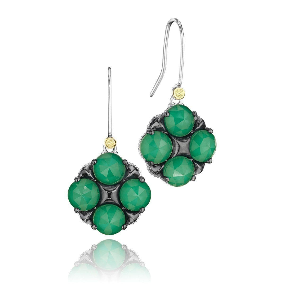 Silver Clear Quartz Over Green Onyx Earrings - SE16627-Tacori-Renee Taylor Gallery