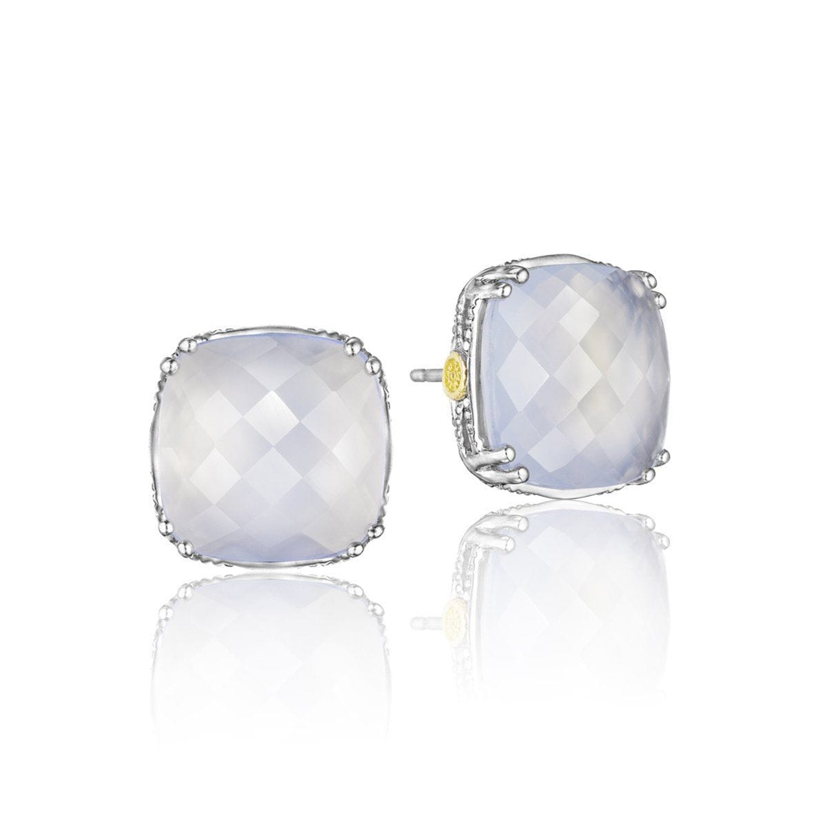Silver Cush Clear Quartz Over Chalcedony Earrings- SE12926-Tacori-Renee Taylor Gallery