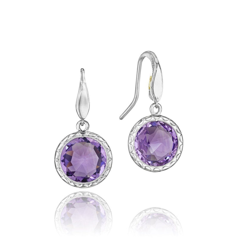 Silver Purple Amethyst Round Dangling Earrings - SE15501-Tacori-Renee Taylor Gallery