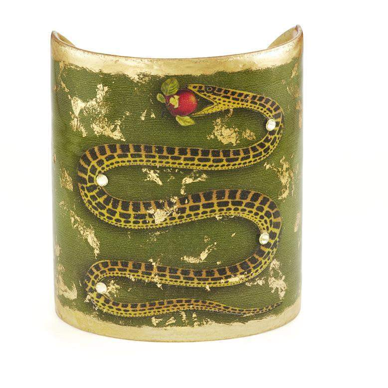 "Snake and Apple 3"" Gold Cuff - GN125A-Evocateur-Renee Taylor Gallery"
