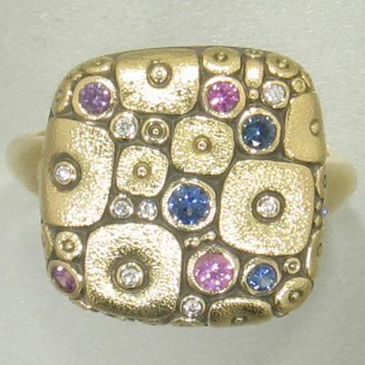 18K Soft Mosaic Blue Purple Mix Sapphire & Diamond Ring - R-138S-Alex Sepkus-Renee Taylor Gallery
